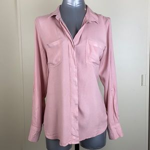 Business casual long sleeve pink button down roll tab sleeve blouse size large